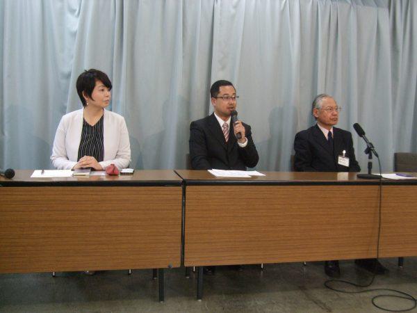 愛知県庁での記者会見の様子