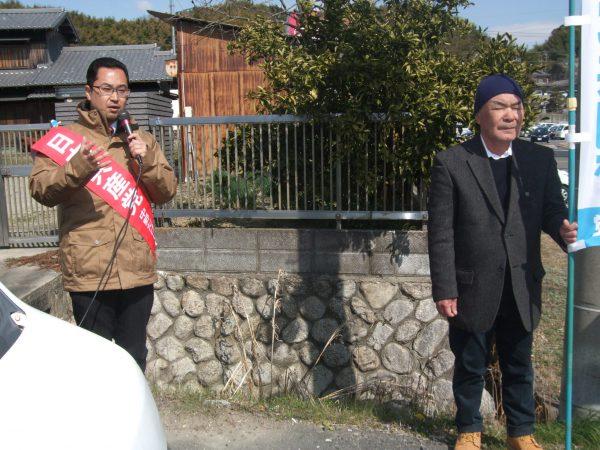 三重県北勢地区でキャラバン宣伝に取り組む中野たけし