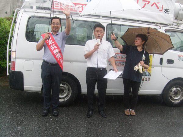 海津市で訴える中野たけし、松岡ただし市議予定候補、堀田みつ子市議