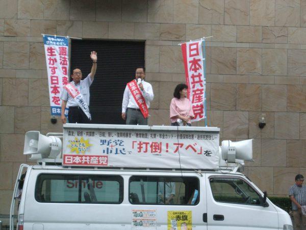岐阜市で街頭宣伝する山越予定候補と中野たけし