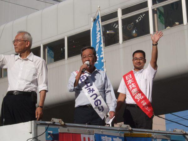 田上選挙区予定候補と一緒に宣伝する中野たけし