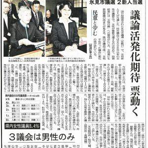 本日地元2紙が、氷見市議会「女性議員2人」への期待を大きく記事に