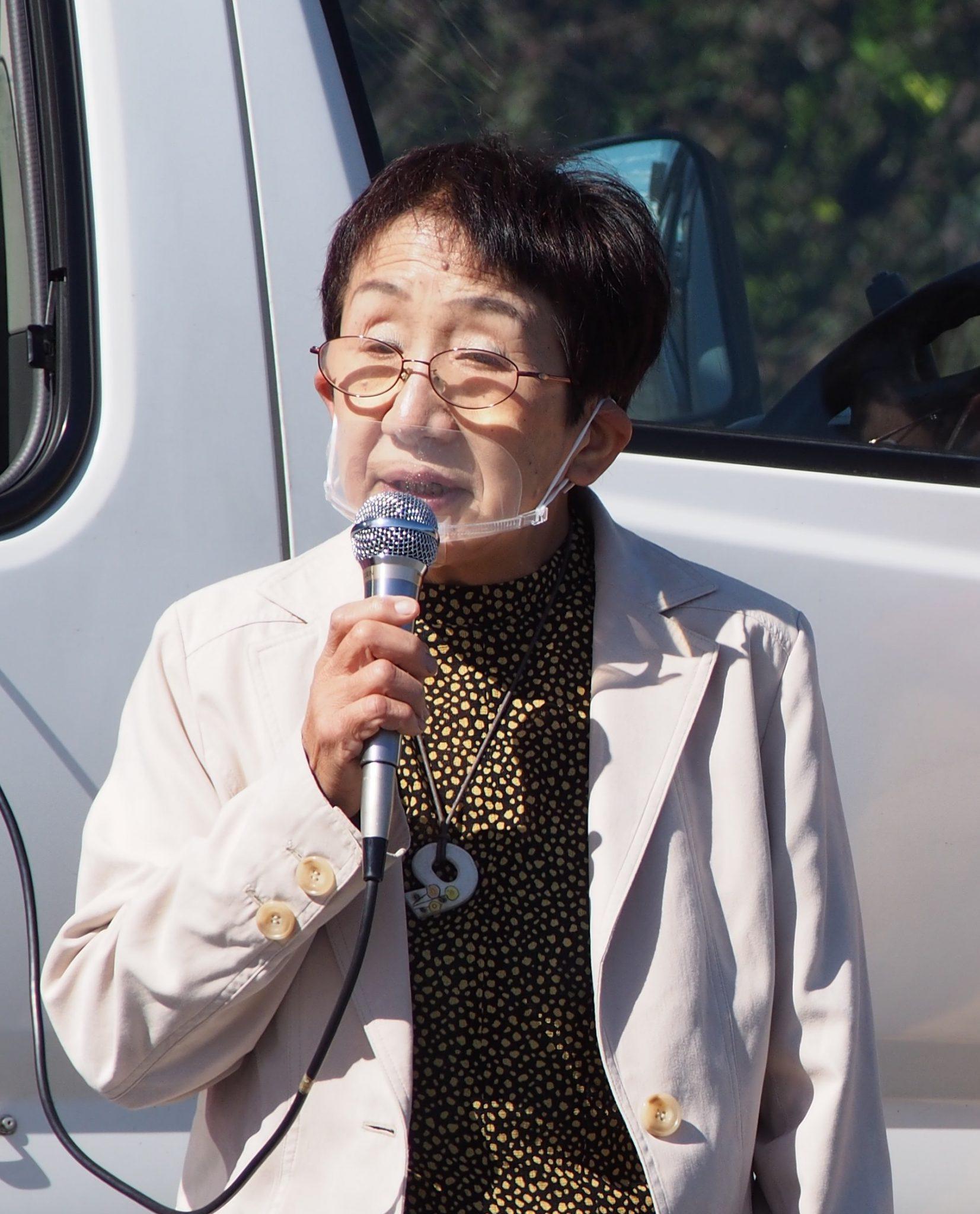 平林たづ子さんが街頭演説を行いました。