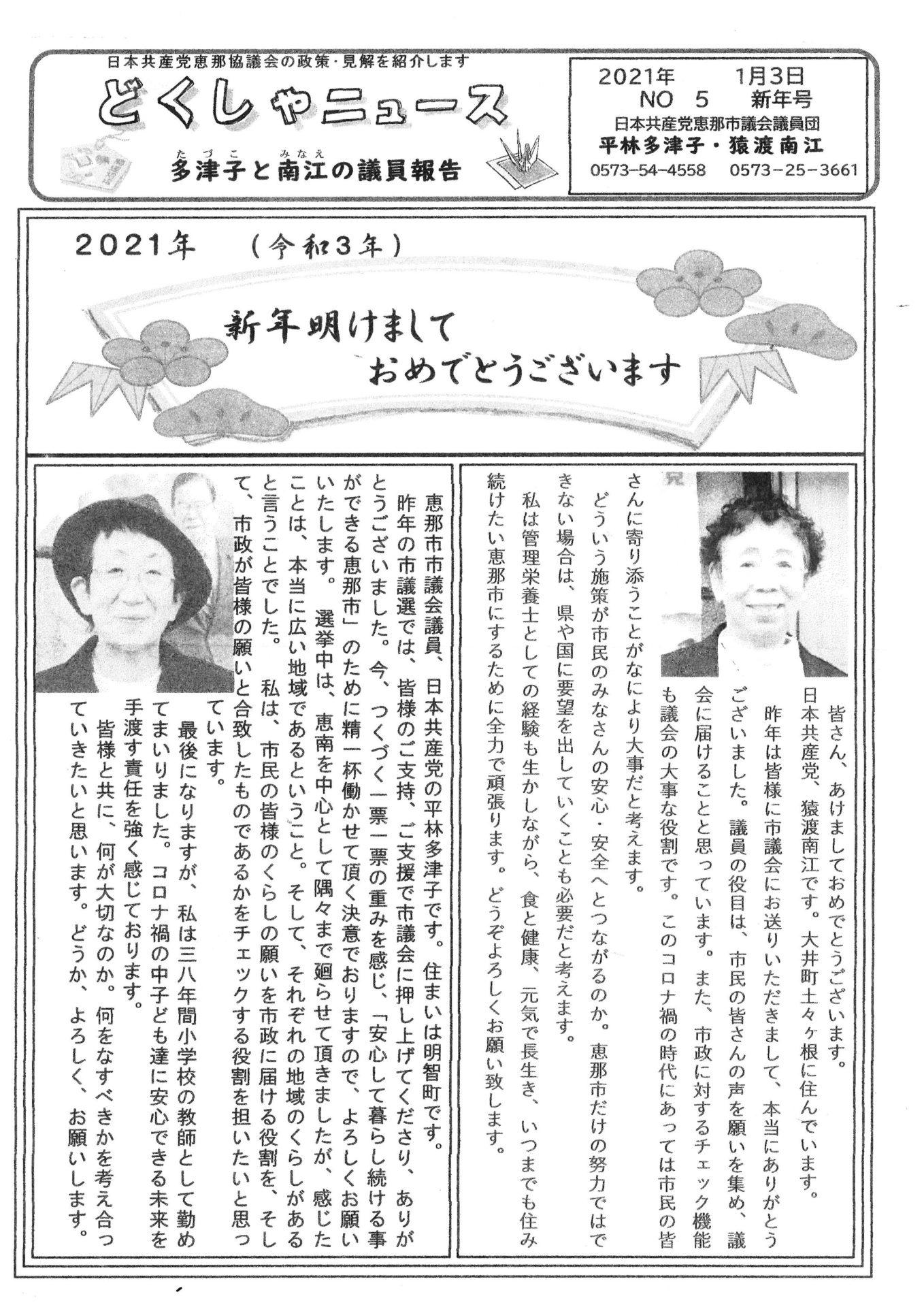 「どくしゃニュース多津子と南江の議員報告」 1月3日号